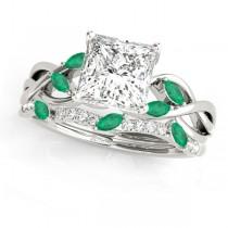 Twisted Princess Emeralds & Diamonds Bridal Sets Palladium (1.23ct)