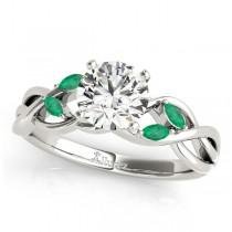 Twisted Round Emeralds & Diamonds Bridal Sets Palladium (1.73ct)