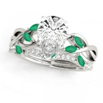 Twisted Pear Emeralds & Diamonds Bridal Sets Platinum (1.73ct)