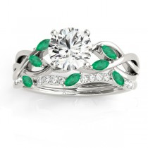 Marquise Emerald & Diamond Bridal Set Setting Platinum (0.43ct)