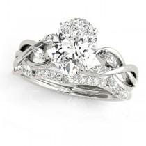 Twisted Oval Diamonds Bridal Sets Palladium (1.23ct)