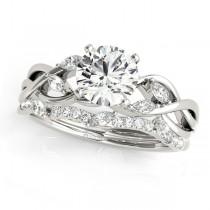 Twisted Round Diamonds Bridal Sets Palladium (0.73ct)