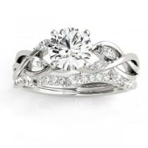 Diamond Marquise Vine Leaf Bridal Set Setting Palladium (0.43ct)