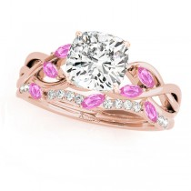 Twisted Cushion Pink Sapphires & Diamonds Bridal Sets 14k Rose Gold (1.23ct)