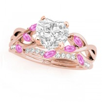 Twisted Heart Pink Sapphires & Diamonds Bridal Sets 14k Rose Gold (1.73ct)