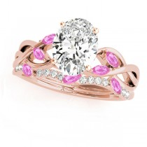 Twisted Oval Pink Sapphires & Diamonds Bridal Sets 14k Rose Gold (1.23ct)