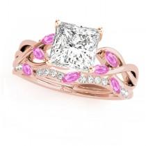 Twisted Princess Pink Sapphires & Diamonds Bridal Sets 14k Rose Gold (0.73ct)