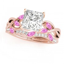 Twisted Princess Pink Sapphires & Diamonds Bridal Sets 14k Rose Gold (1.73ct)