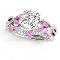 Twisted Cushion Pink Sapphires & Diamonds Bridal Sets 14k White Gold (1.73ct)