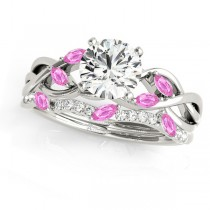 Twisted Round Pink Sapphires & Moissanites Bridal Sets 14k White Gold (1.23ct)