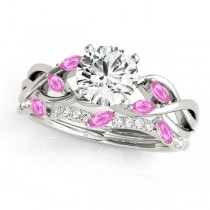 Twisted Round Pink Sapphires & Diamonds Bridal Sets 14k White Gold (0.73ct)