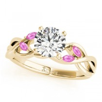 Twisted Round Pink Sapphires & Diamonds Bridal Sets 14k Yellow Gold (0.73ct)
