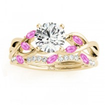 Marquise Pink Sapphire & Diamond Bridal Set Setting 14k Yellow Gold (0.43ct)