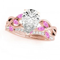 Twisted Pear Pink Sapphires & Diamonds Bridal Sets 18k Rose Gold (1.73ct)