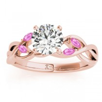 Marquise Pink Sapphire & Diamond Bridal Set Setting 18k Rose Gold (0.43ct)