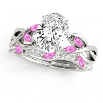 Twisted Oval Pink Sapphires & Diamonds Bridal Sets 18k White Gold (1.73ct)