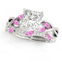 Twisted Princess Pink Sapphires & Diamonds Bridal Sets 18k White Gold (1.23ct)