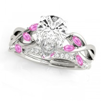 Twisted Pear Pink Sapphires & Diamonds Bridal Sets 18k White Gold (1.73ct)