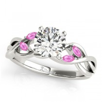Twisted Round Pink Sapphires & Diamonds Bridal Sets 18k White Gold (0.73ct)