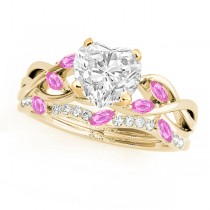 Twisted Heart Pink Sapphires & Diamonds Bridal Sets 18k Yellow Gold (1.23ct)