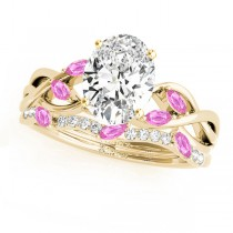 Twisted Oval Pink Sapphires & Diamonds Bridal Sets 18k Yellow Gold (1.23ct)