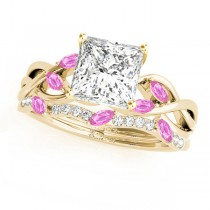 Twisted Princess Pink Sapphires & Diamonds Bridal Sets 18k Yellow Gold (0.73ct)