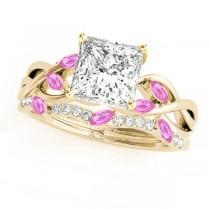 Twisted Princess Pink Sapphires & Diamonds Bridal Sets 18k Yellow Gold (1.23ct)