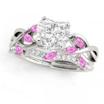 Twisted Heart Pink Sapphires & Diamonds Bridal Sets Palladium (1.23ct)
