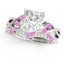 Twisted Princess Pink Sapphires & Diamonds Bridal Sets Palladium (1.23ct)
