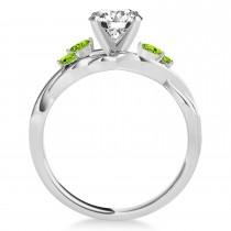 Marquise Peridot & Diamond Bridal Set Setting 18k White Gold (0.43ct)