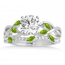 Marquise Peridot & Diamond Bridal Set Setting Platinum (0.43ct)
