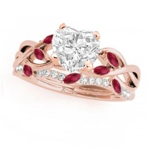 Twisted Heart Rubies & Diamonds Bridal Sets 14k Rose Gold (1.73ct)