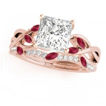 Twisted Princess Rubies & Diamonds Bridal Sets 14k Rose Gold (0.73ct)