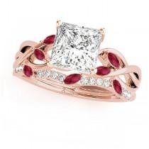 Twisted Princess Rubies & Diamonds Bridal Sets 14k Rose Gold (1.73ct)