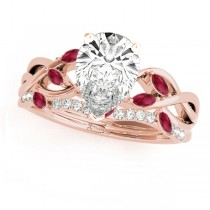 Twisted Pear Rubies & Diamonds Bridal Sets 14k Rose Gold (1.23ct)