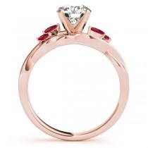 Twisted Round Rubies & Moissanites Bridal Sets 14k Rose Gold (0.73ct)