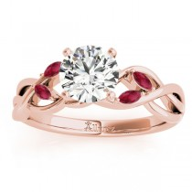 Marquise Ruby & Diamond Bridal Set Setting 14k Rose Gold (0.43ct)