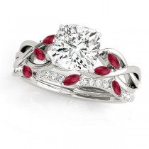Twisted Cushion Rubies & Diamonds Bridal Sets 14k White Gold (1.23ct)