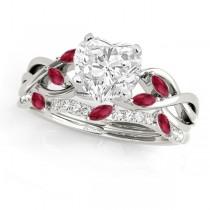 Twisted Heart Rubies & Diamonds Bridal Sets 14k White Gold (1.73ct)