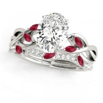 Twisted Oval Rubies & Diamonds Bridal Sets 14k White Gold (1.73ct)