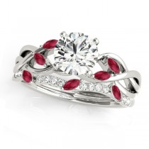 Twisted Round Rubies & Diamonds Bridal Sets 14k White Gold (0.73ct)