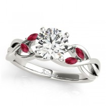 Twisted Round Rubies & Diamonds Bridal Sets 14k White Gold (1.23ct)