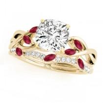 Twisted Cushion Rubies & Diamonds Bridal Sets 14k Yellow Gold (1.23ct)