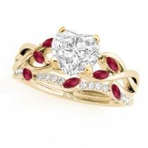 Twisted Heart Rubies & Diamonds Bridal Sets 14k Yellow Gold (1.23ct)