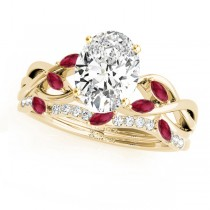 Twisted Oval Rubies & Diamonds Bridal Sets 14k Yellow Gold (1.23ct)
