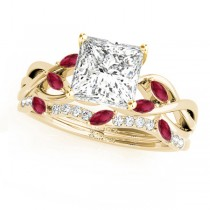 Twisted Princess Rubies & Diamonds Bridal Sets 14k Yellow Gold (1.23ct)