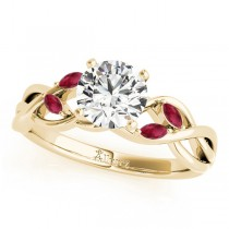 Twisted Round Rubies & Diamonds Bridal Sets 14k Yellow Gold (0.73ct)