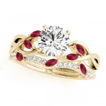 Twisted Round Rubies & Diamonds Bridal Sets 14k Yellow Gold (1.23ct)