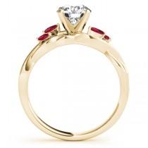 Twisted Round Rubies & Diamonds Bridal Sets 14k Yellow Gold (1.23ct)