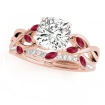Twisted Cushion Rubies & Diamonds Bridal Sets 18k Rose Gold (1.23ct)